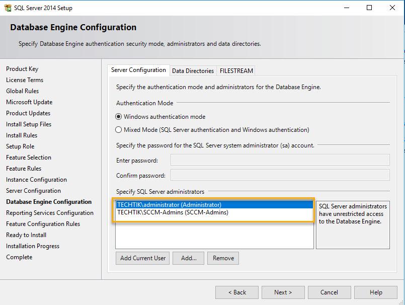 Install SQL for SCCM - 9