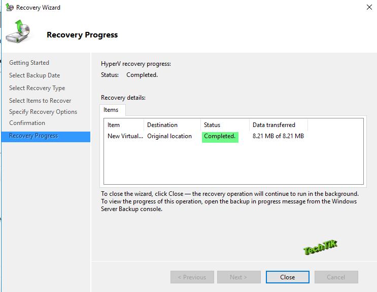 Recovery Hyper-v