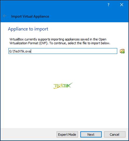 Appliance virtual box