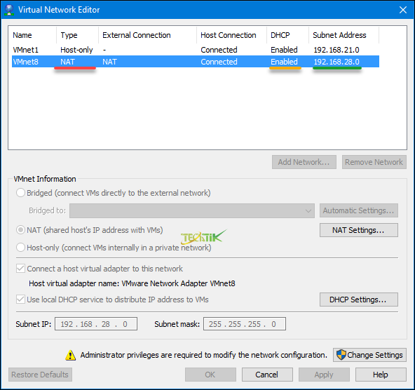 Virtual Network Editor VMware