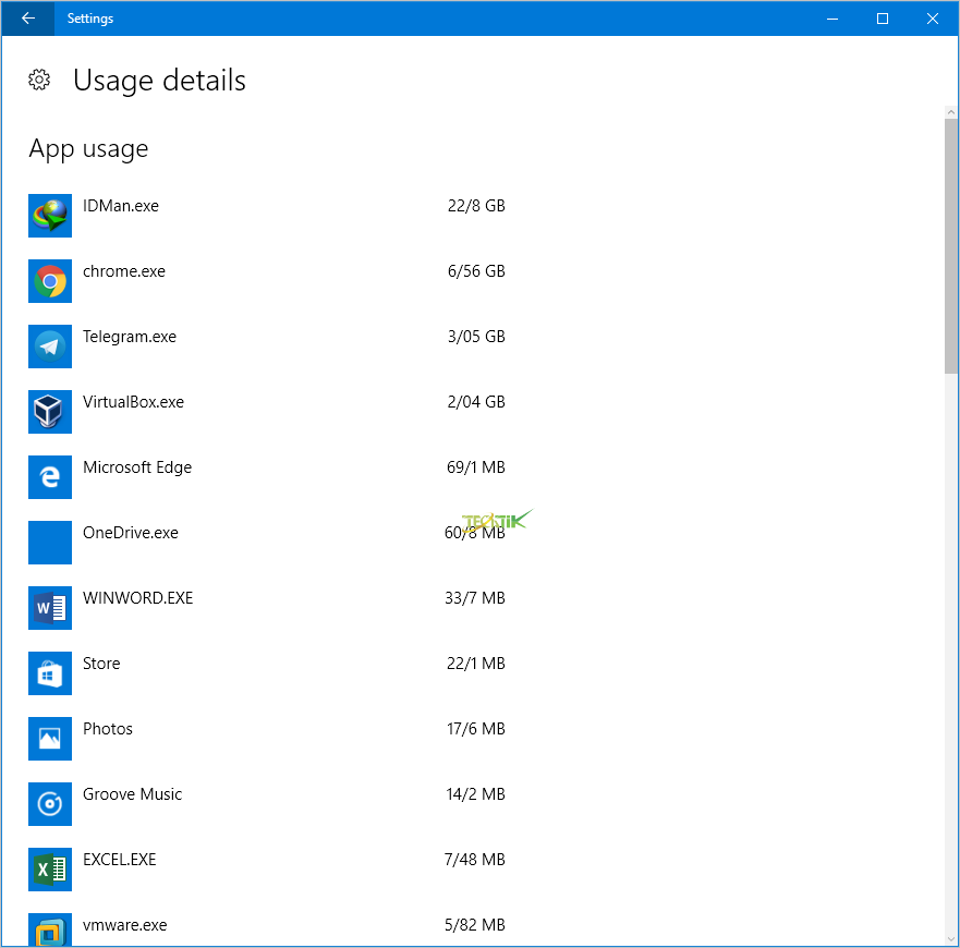 Reset Data usage windows 10