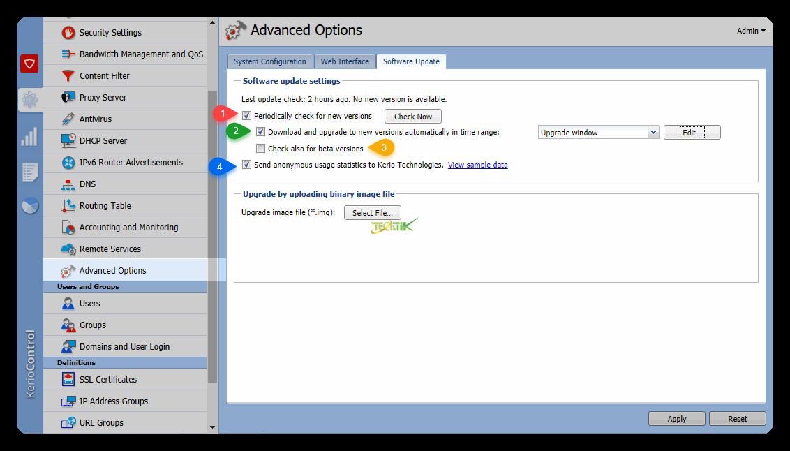 Advanced option on kerio control