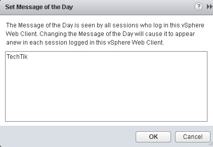 Message of the Day vCenter 2