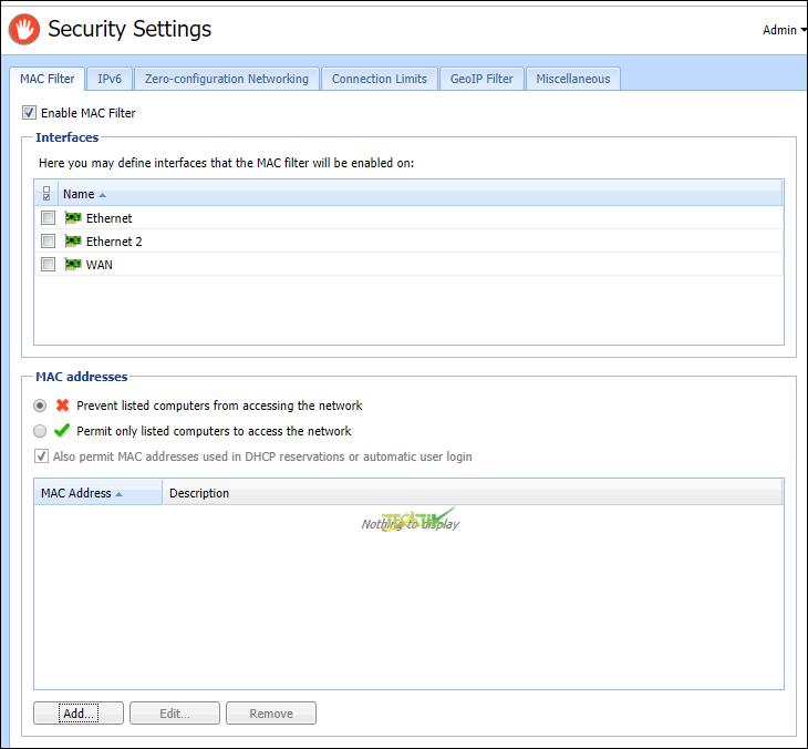 Security Setting Kerio Control