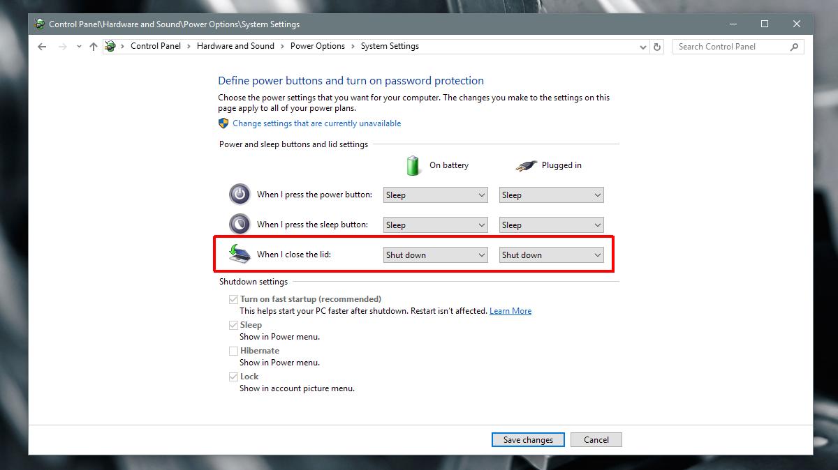 تصویر از با بستن درب لپتاپ ویندوز را خاموش کنیم