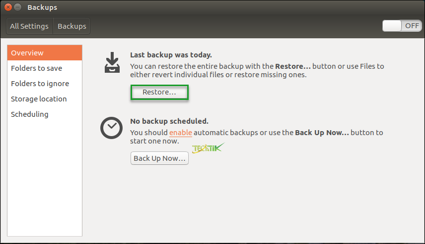 Backup & Restore Ubuntu (7) - مجله خبری آموزشی تک تیک