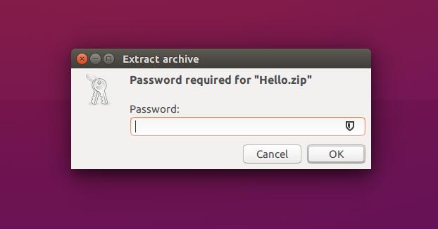 تصویر از نحوه قرار دادن رمز عبور بر روی فایل های فشرده در اوبونتو