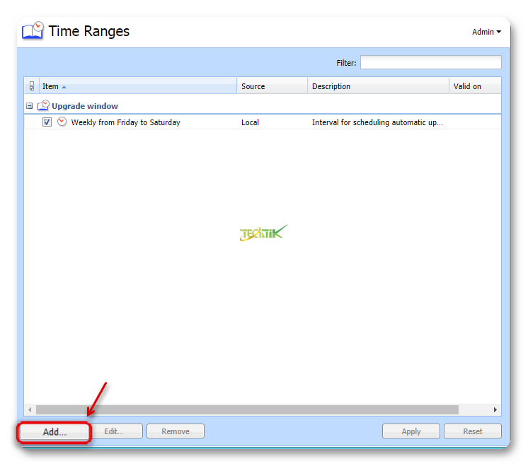 Time Range Kerio control