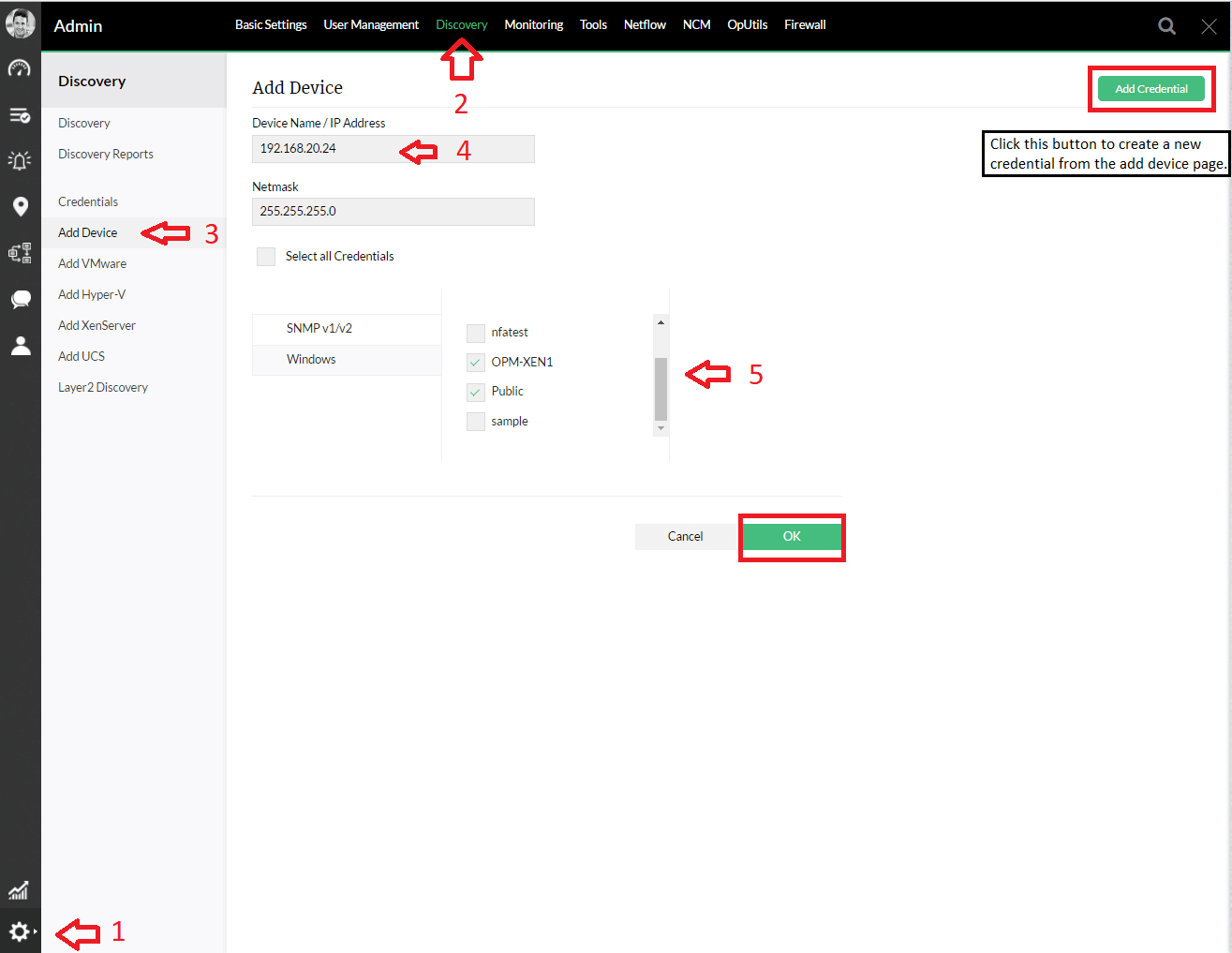 Add Devices OpManager