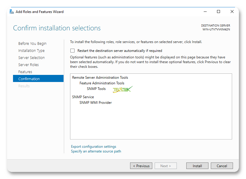 Enable SMTP on WIndows Server 2016