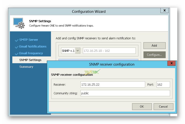 SMTP Veeam ONE