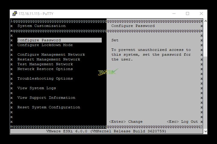 تصویر از دسترسی به کنسول ESXI از طریق SSH