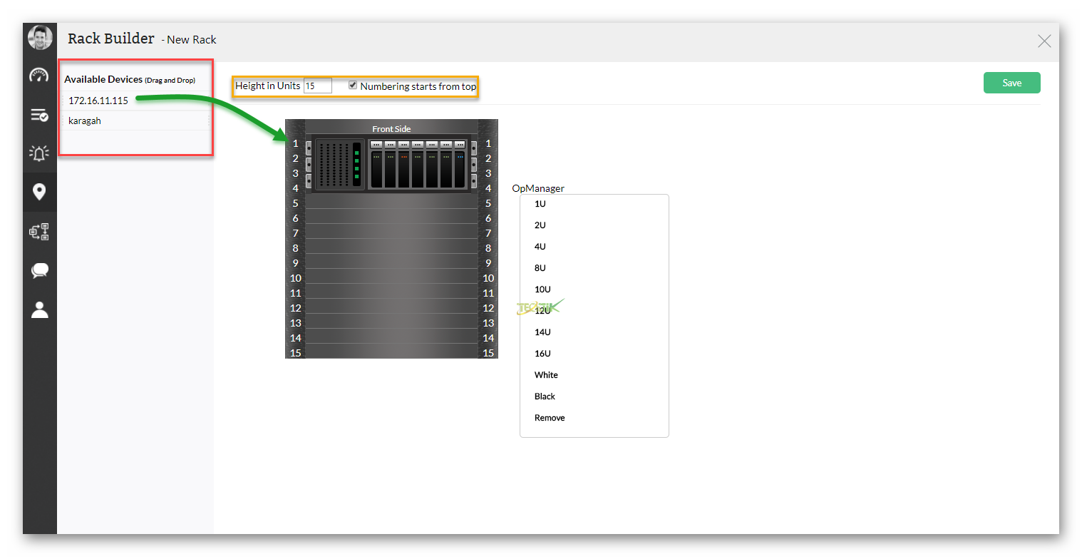 Rack View OpManager