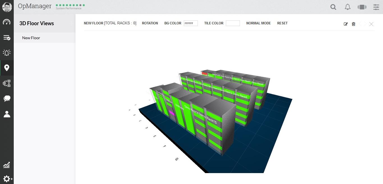 تصویر از ترسیم اتاق DataCenter با استفاده از قابلیت ۳D Floor Views در OpManager