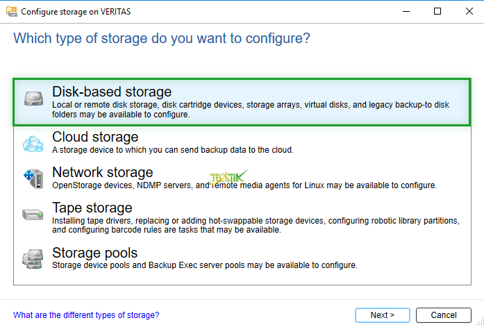 Add Disk Veritas Backup