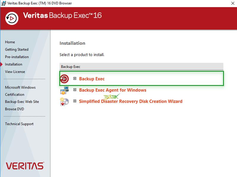 Install Veritas Backup ExecInstall Veritas Backup Exec