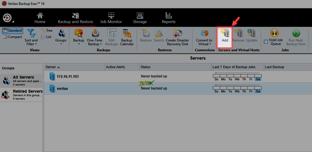 Add ESXI Veritas Backup Exec