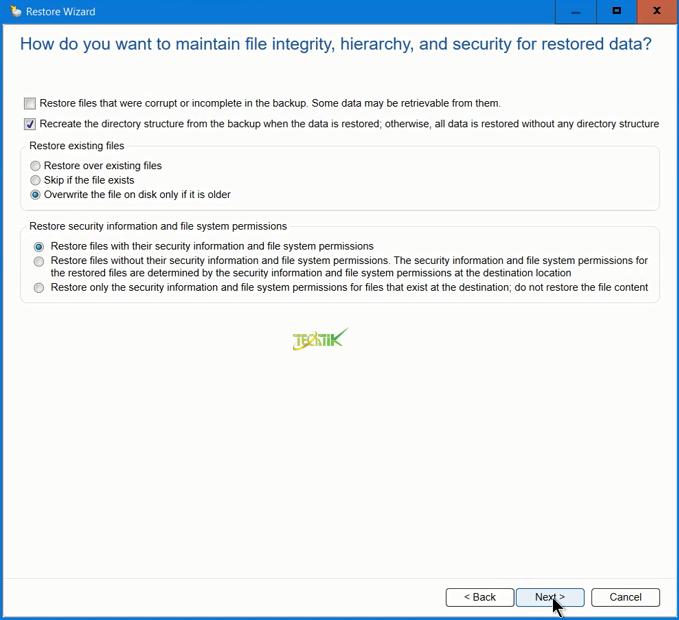 Restore File and Folder Backup Exec