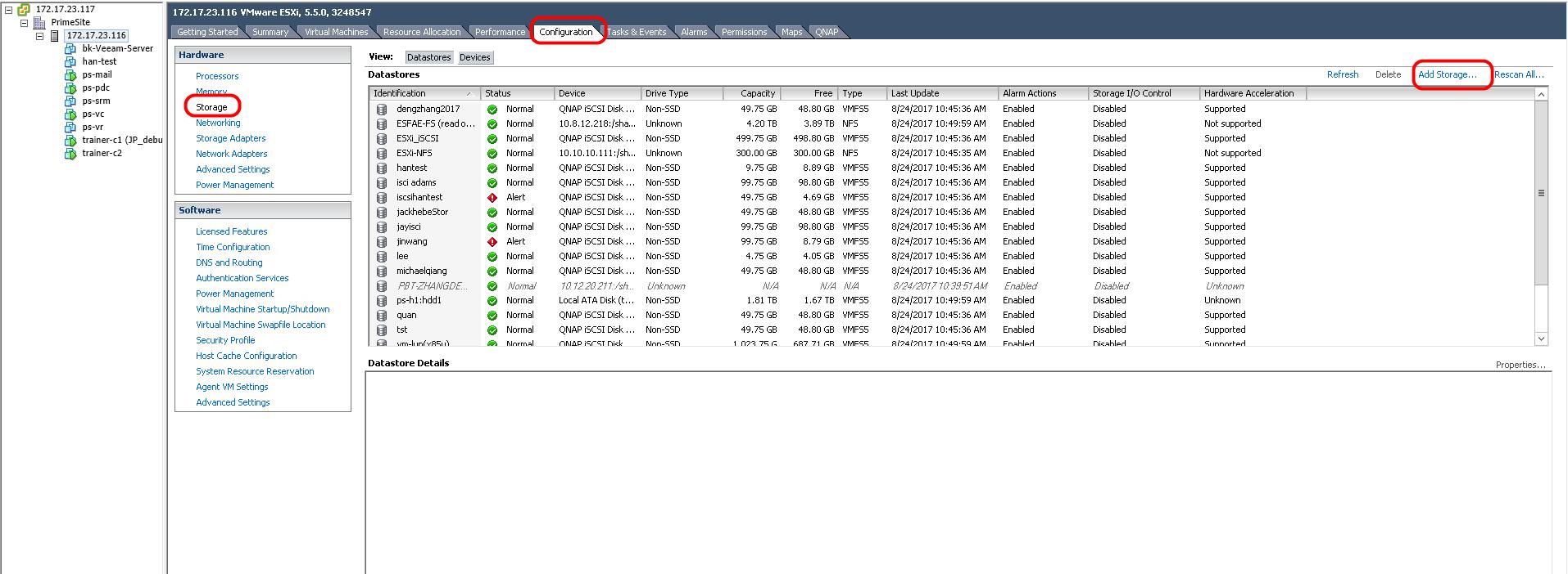 استفاده از NFS Target به عنوان دیتااستور در VMware vCenter از طریق vSphere Client