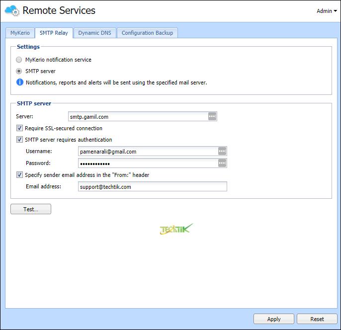 SMTP Kerio Control
