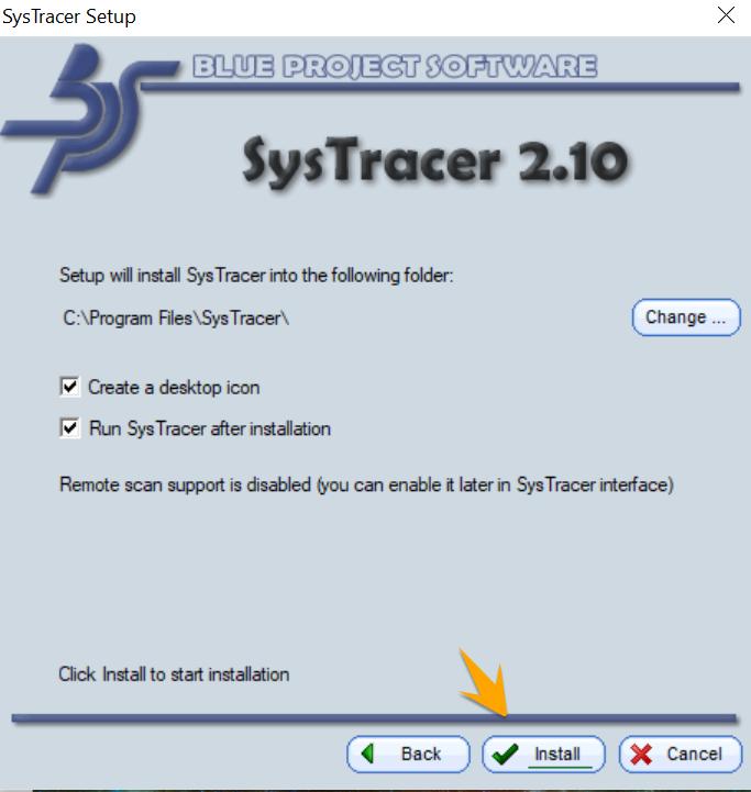 نصب SysTracer