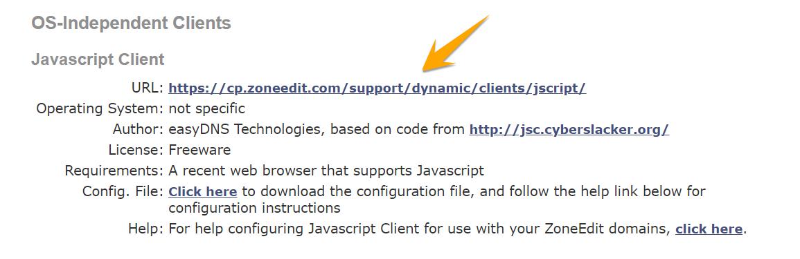 پیکربندی Javascript Dynamic DNS Client for ZoneEdit