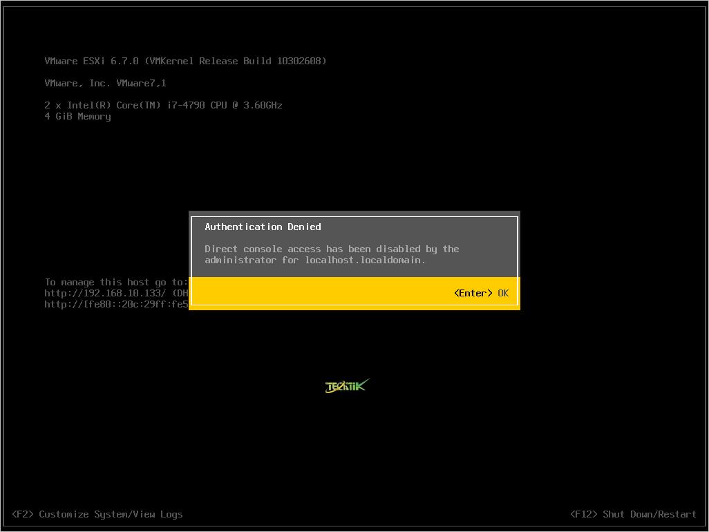 تصویر از غیر فعال سازی DCUI در ESXi