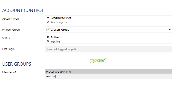 Add user PRTG