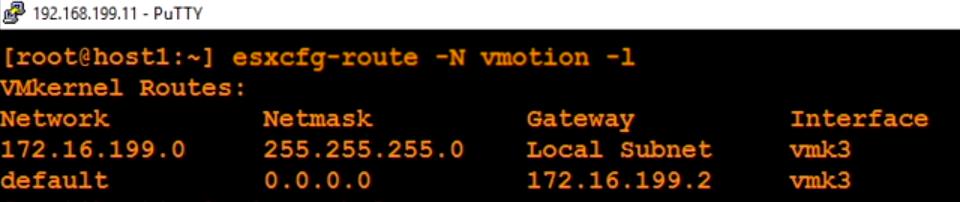 مشاهده جدول روتینگ vMotion در VMware