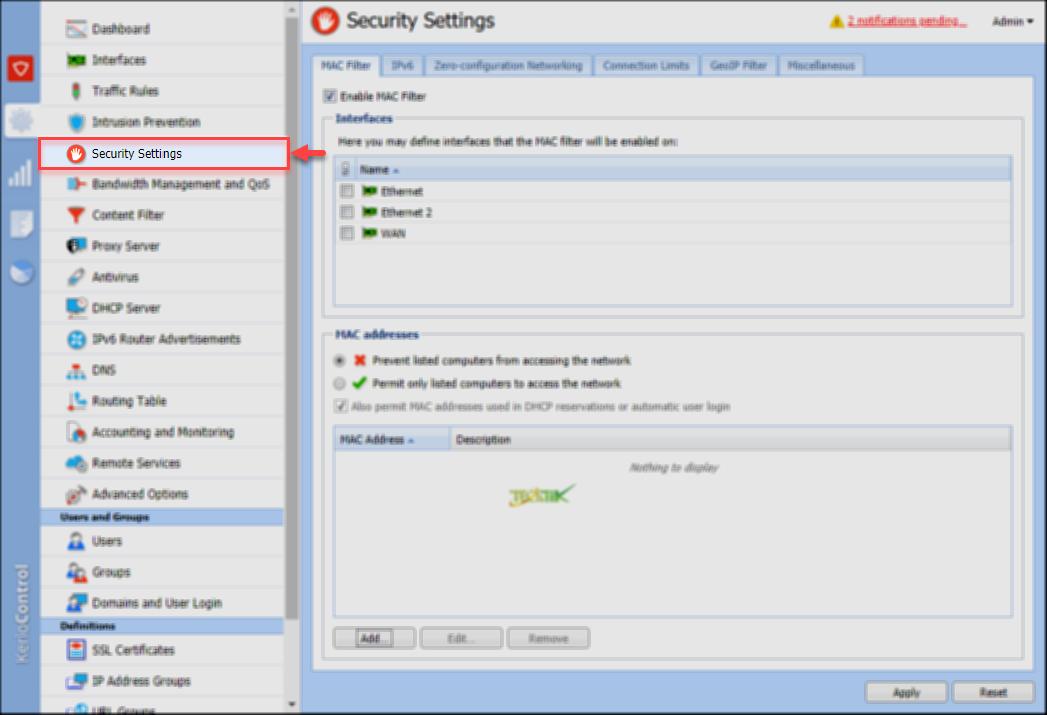 تصویر از آشنایی با تنظیمات بخش Security Setting در Kerio Control