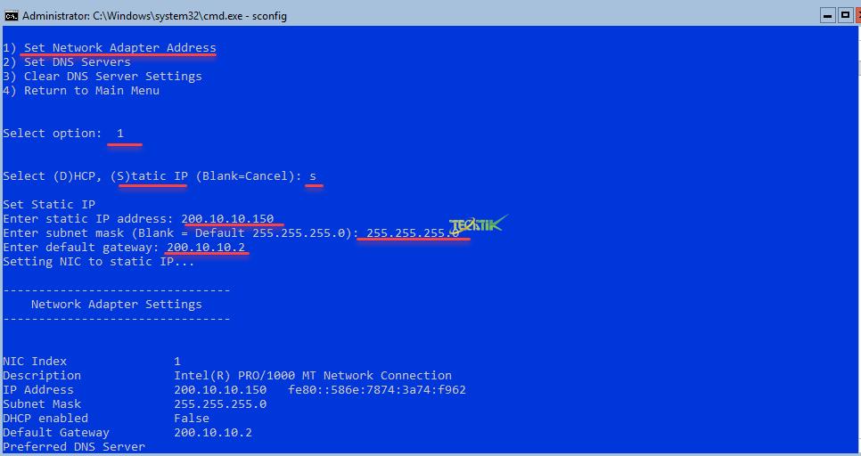 Network Settings hyperv server