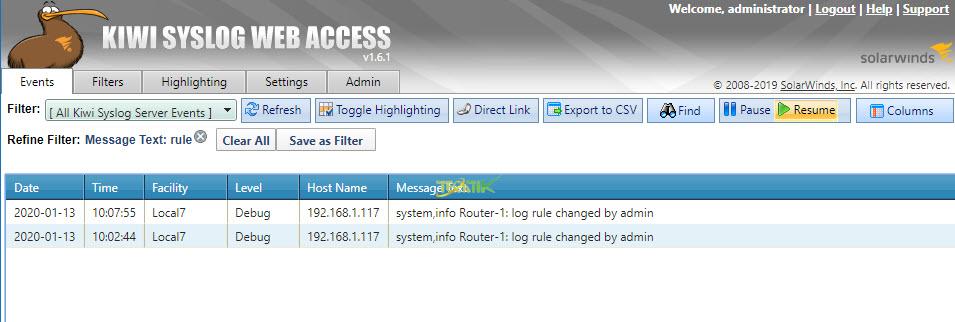 Kiwi Syslog Server Console